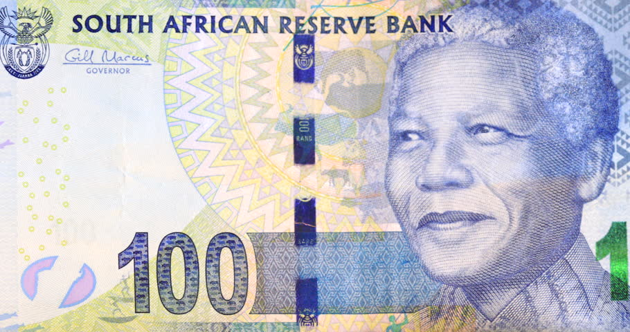 Money South Africa currency the Rand ZAR depicting the first democratically elected President, Nelson Mandela on the R100 note | Shutterstock HD Video #1019303161