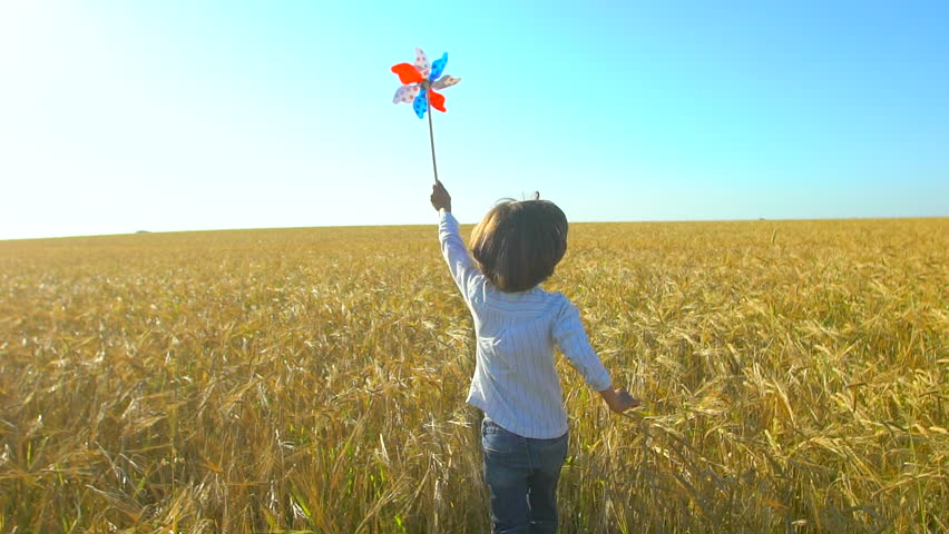 Little boy running with toy wind turbine in hand at summer sunset nature outdoors Wheat field Happy kid child playing having fun pinwheel Happiness vacation childhood children happy family holiday | Shutterstock HD Video #1019304538