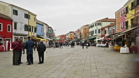 Burano Island, Venice, Italy. A time lapse view of the colored houses in Burano Island.