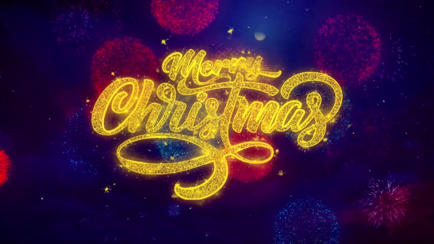 Merry Christmas xmas greeting text with particles and sparks Colored Bokeh Fireworks Display 4K. for Greeting card, Celebration, Party Invitation, calendar, Gift, Events, Message, Holiday, Wishes .   Shutterstock HD Video #1019310286