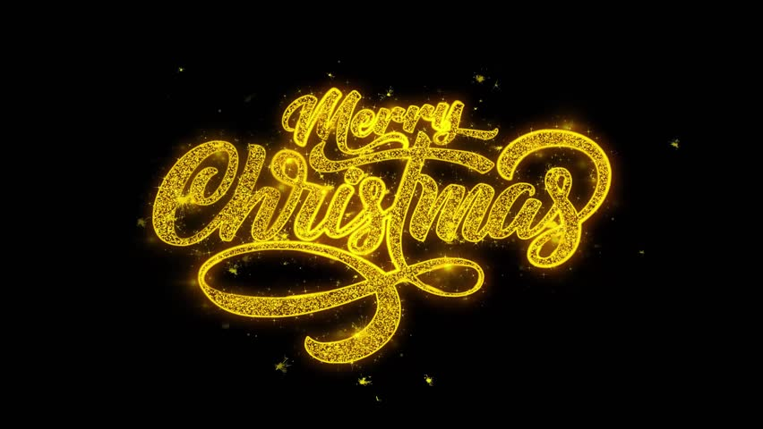 Merry Christmas Xmas Beautiful Animation of Sparklers Gold Glitter Glowing Text Appearing on Black 4K. Greeting card, Celebration, Party Invitation, calendar, Gift, Events, Message, Holiday, Wishes. | Shutterstock HD Video #1019310331