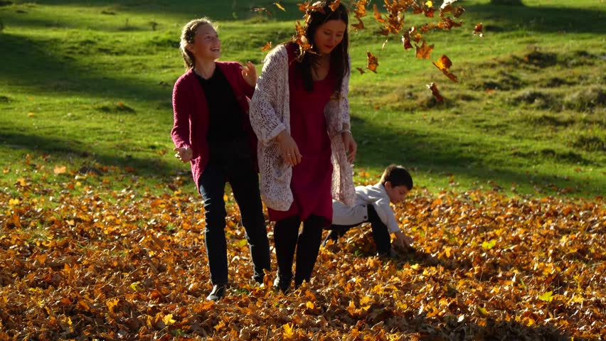 Mom and her children are having fun playing in the autumn forest. They jump and throw leaves in the air. They are laughing. The family is happy. | Shutterstock HD Video #1019311384