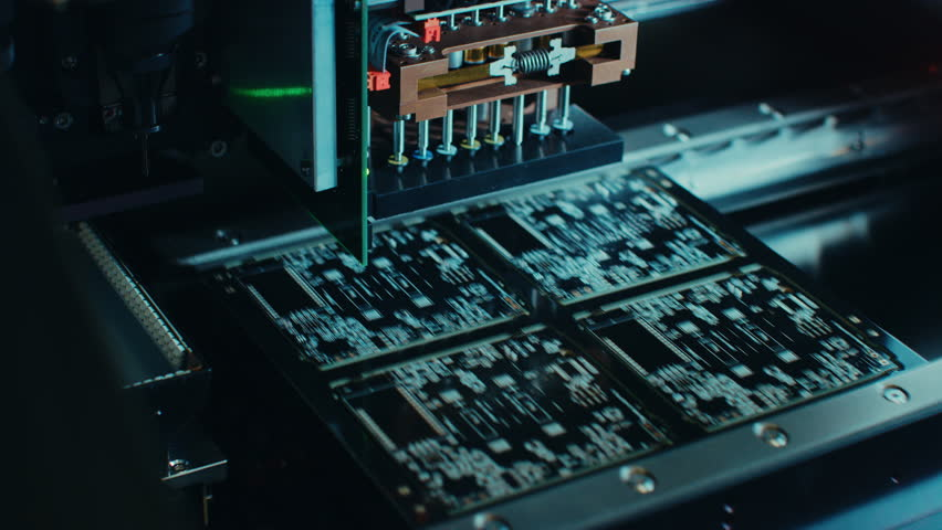 Factory Machine at Work: Printed Circuit Board Being Assembled with Automated Robotic Arm, Surface Mounted Technology Connecting Microchips to the Motherboard. Time Lapse Macro Close-up Footage. | Shutterstock HD Video #1019311927