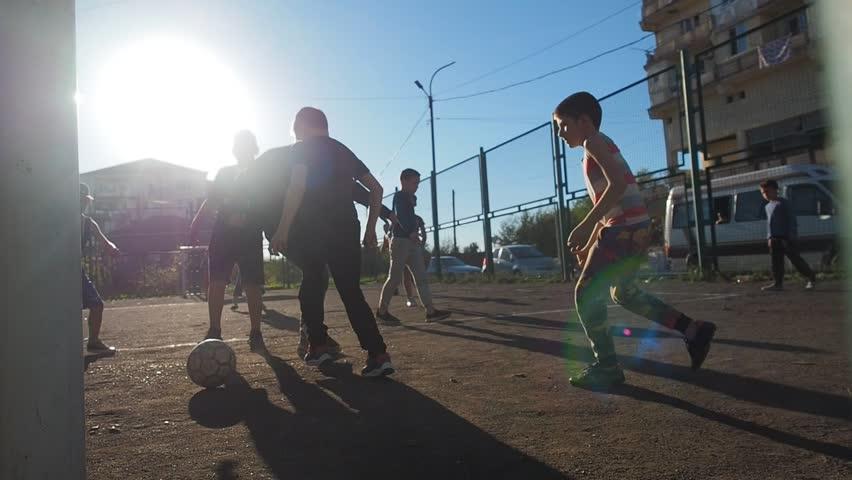 Batumi / Georgia - 06.10.2018. Children Training Playing Football In Ghetto.