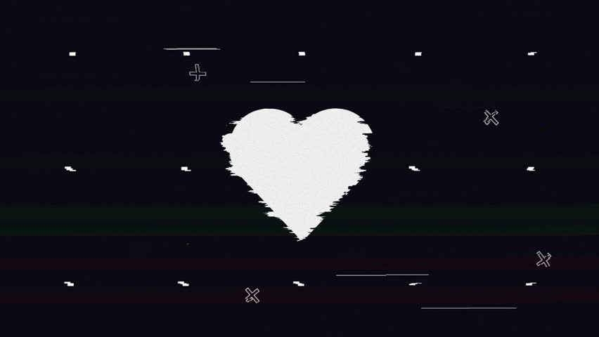 Looped heart sign glitch on black background | Shutterstock HD Video #1019341546