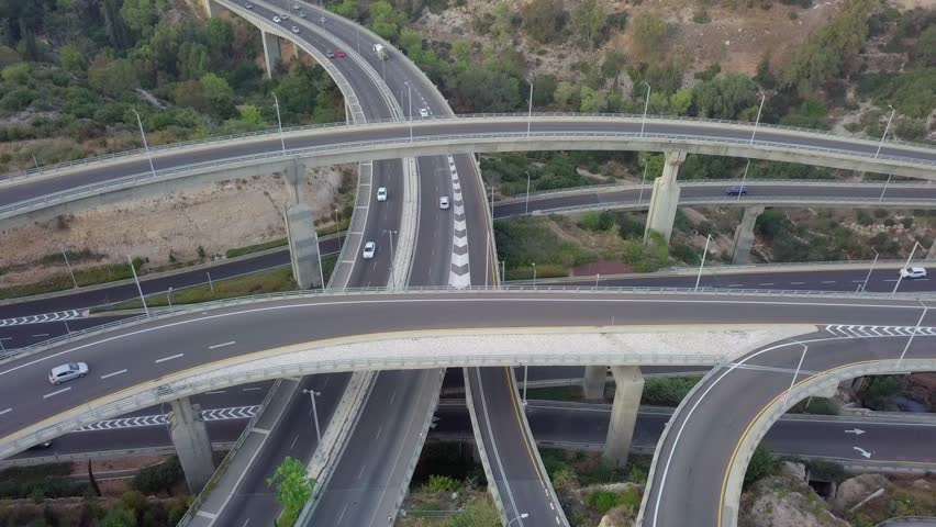 Multi level Highway interchange with traffic on all levels - Aerial footage   Shutterstock HD Video #1019390614