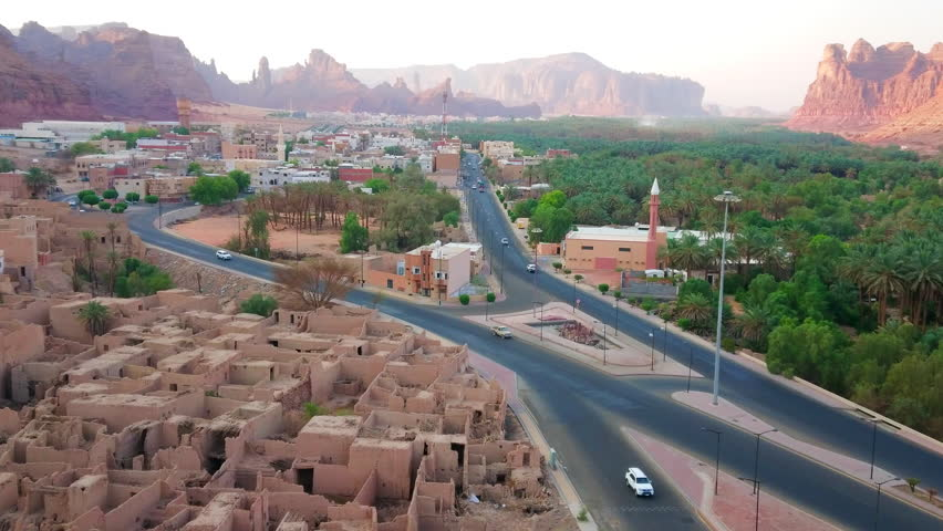 Alula  / Saudi Arabia- September 24, 2017: Overlooking view of Mud houses and Date trees within the Al Ula Historical Heritage site