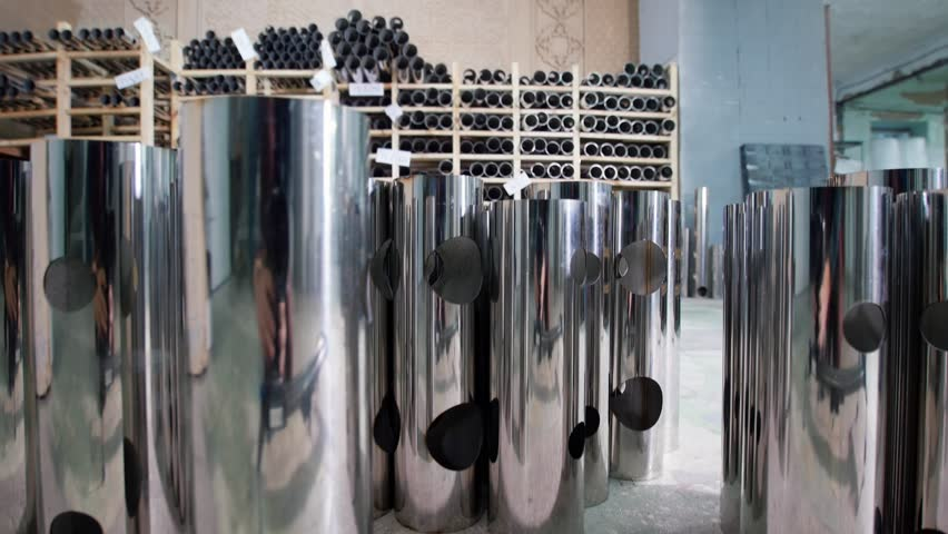 Industrial factory of metal pipes manufacturing | Shutterstock HD Video #1019411911