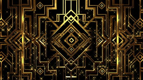 Art deco gatsby style gold metal patterned structure with rising gold particles