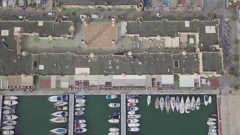 Close up aerial view of Spanish city Fuengirola Harbor in November