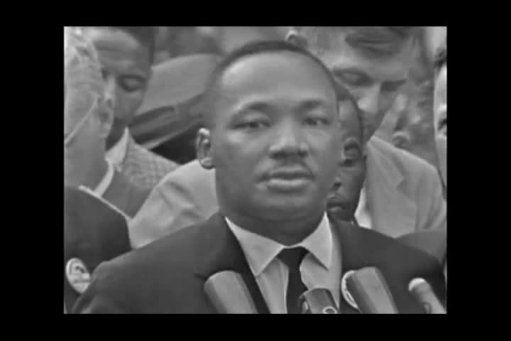 Washington, United States of America. August 1963. Martin Luther king speaks to the crowd during the civil rights march