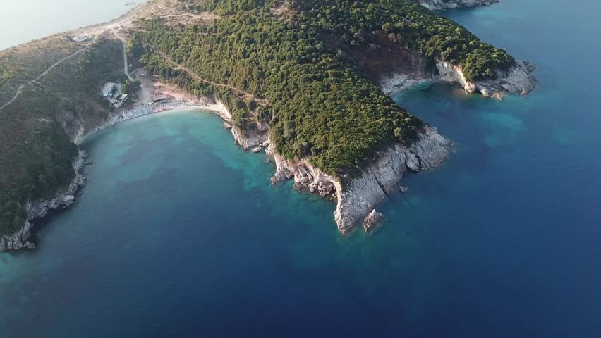 Aerial drone view of Monastery beach and Mirror beach located in Saranda, Albania.  Beautiful beaches along the Albanian Riviera