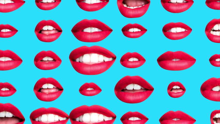 Time lapse sequence of woman's full red lips talking and moving against blue background | Shutterstock HD Video #1019447188