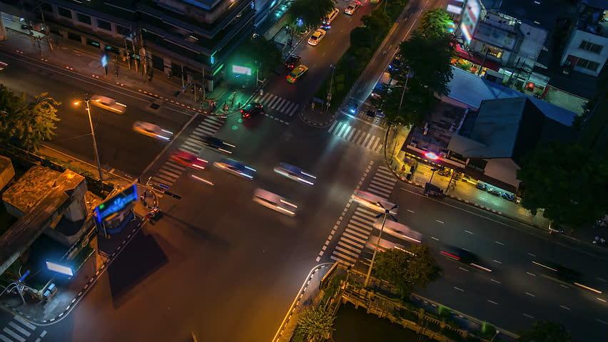 4k.Time lapse Traffic at intersection bangkok Thailand #1019461744