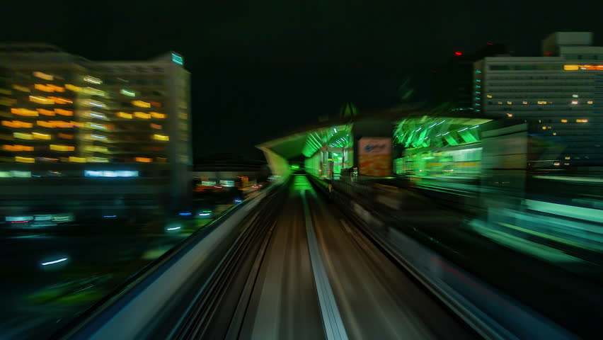 4K.Time lapse automatic train fast speed at Tokyo city of Japan    Shutterstock HD Video #1019461756