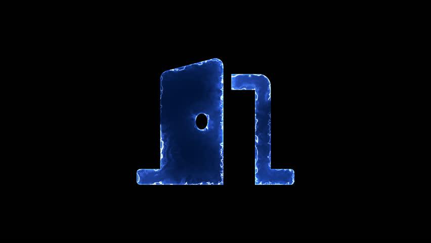 Symbol door open. Blue Electric Glow Storm. looped video. Alpha channel black   Shutterstock HD Video #1019465947