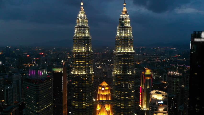 Kuala Lumpur,Malaysia - Sep 25,2018:Aerial view of Kuala Lumpur at night #1019466532