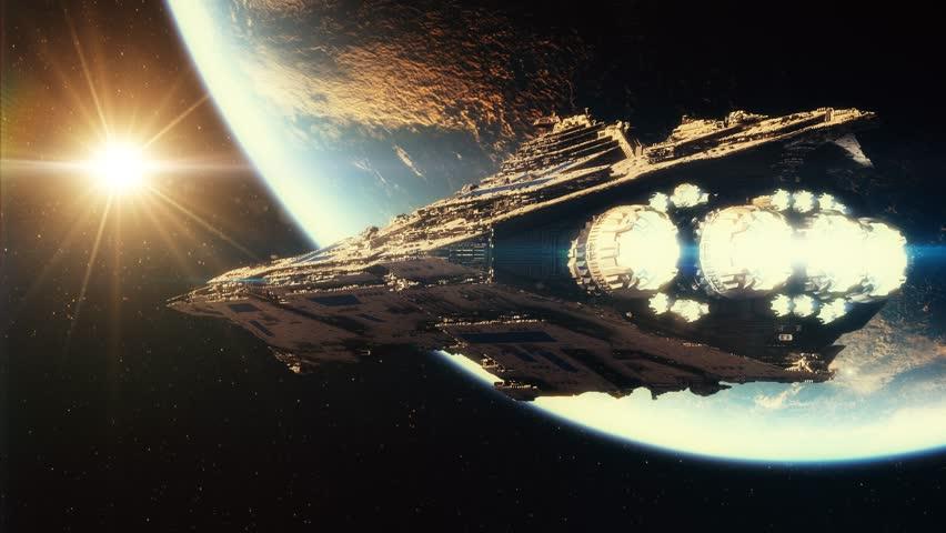 3D animation of spaceship in orbit around earth 4K