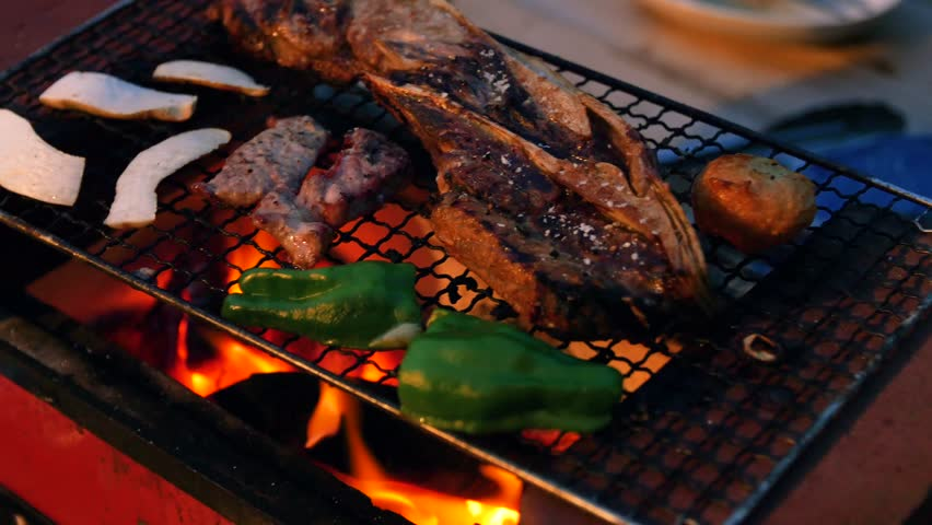 Vegetables and Meat Cooking Over a BBQ Fire   Shutterstock HD Video #1019469187