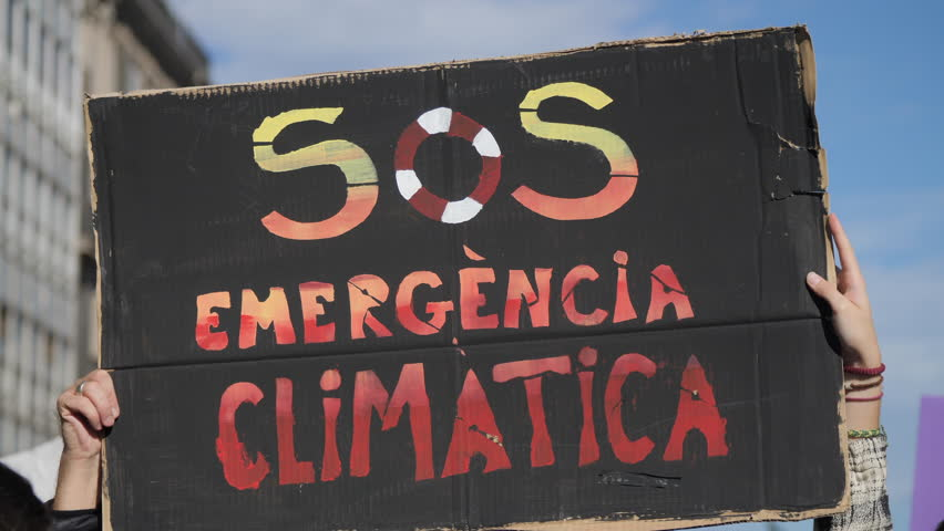 SOS Climatic Emergency in Catalan, on a Demonstration due to Climate Change.