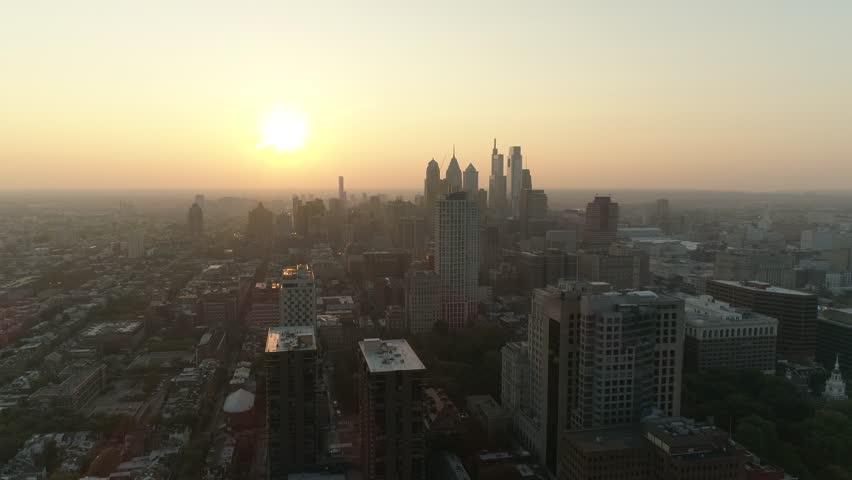 Philadelphia City Skyline Sunset Aerial Drone 4K #1019504902