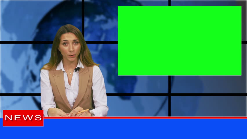 Female news presenter in broadcasting studio with green screen display for mockup usage | Shutterstock HD Video #1019521078