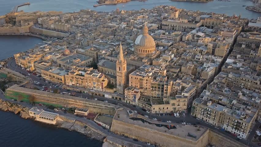 Aerial landscape of the capital Valetta, Malta Royalty-Free Stock Footage #1019528098