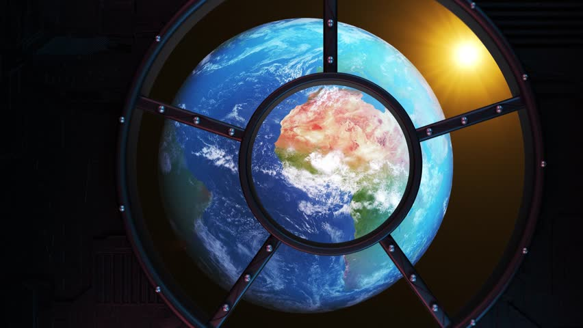 Realistic View of The Earth Through  The Window of The Spaceship. Realistic Atmosphere. Looped Earth. Volumetric clouds. Realistic Sun.