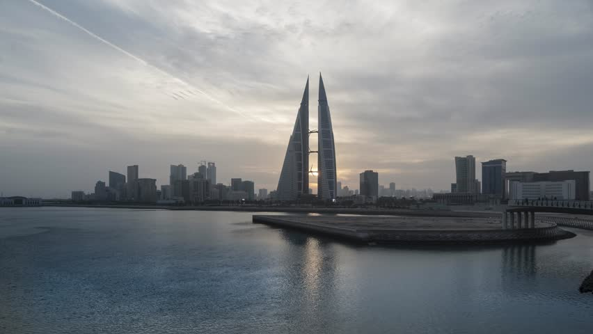 MANAMA, BAHRAIN - October , 2018: Time lapse view of the World Trade Center and other high rise buildings in Manama on Oct 28, 2017 in Manama, Bahrain