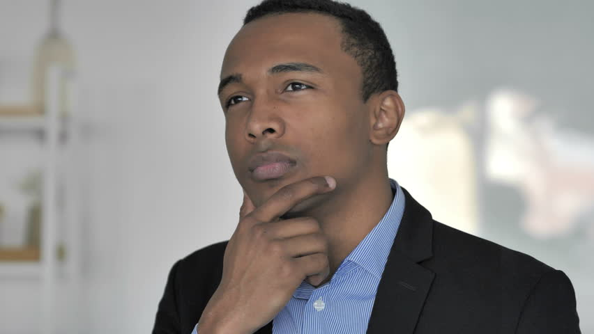 Portrait of Thinking Casual Afro-American Businessman, New Plan , camera sliding | Shutterstock HD Video #1019603032