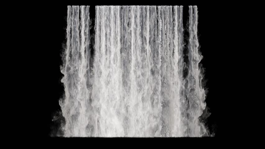 waterfall texture seamless loop, 4k, isolated on black with alpha and separate foam layer #1019613004
