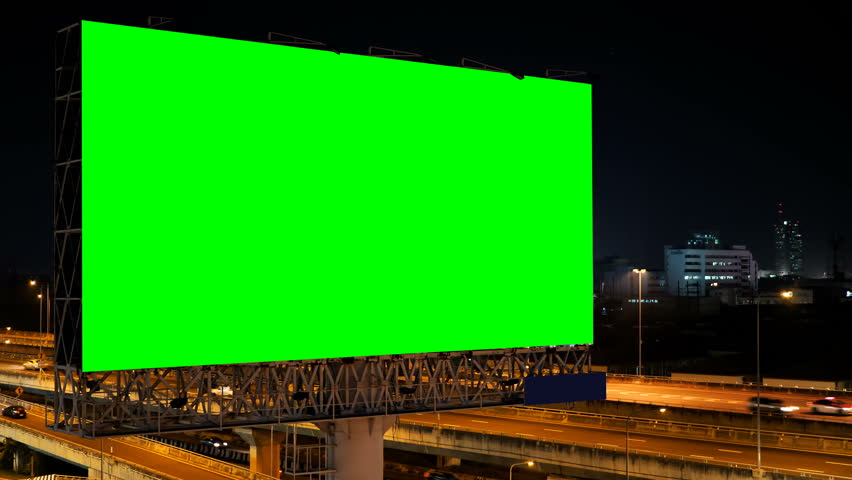 Green screen of advertising billboard on expressway during the twilight with city background in Bangkok, Thailand. | Shutterstock HD Video #1019613340