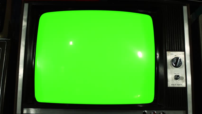 """80s TV Green Screen with Many 80s TVs. Dolly Out Slow. You can Replace Green Screen with the Footage or Picture you Want with """"Keying"""" effect in After Effects (check out tutorials on YouTube).  