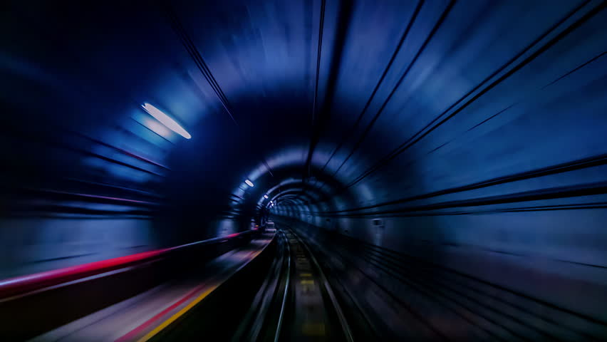 4K.Time lapse Subway tunnel fast speed | Shutterstock HD Video #1019614162