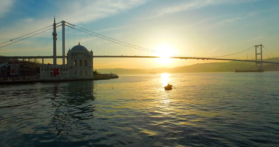 Ortakoy Mosque landscape with beautiful sunrise Bosphorus Bridge, Istanbul Turkey