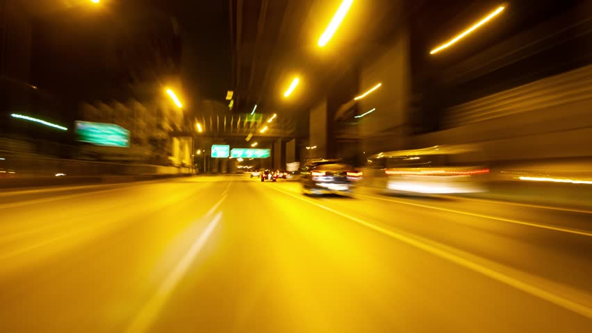 Hyperlapse Night City Traffic Motion Blurs on high way in Thailand in early. Colorful Urban Illumination in Motion Blur. City Streets Speeding Car.  | Shutterstock HD Video #1019648206