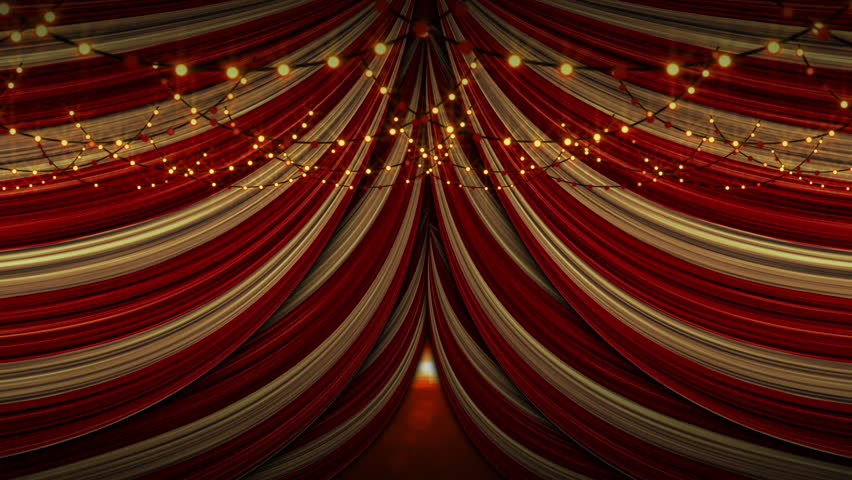 Red and yellow draped tent ceiling with round warm flashing fairy lights Royalty-Free Stock Footage #1019674621