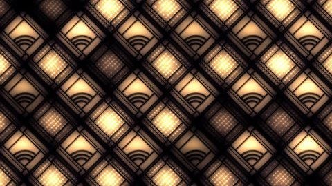 Art deco style diamond grid decorated with curves and warm flashing lights