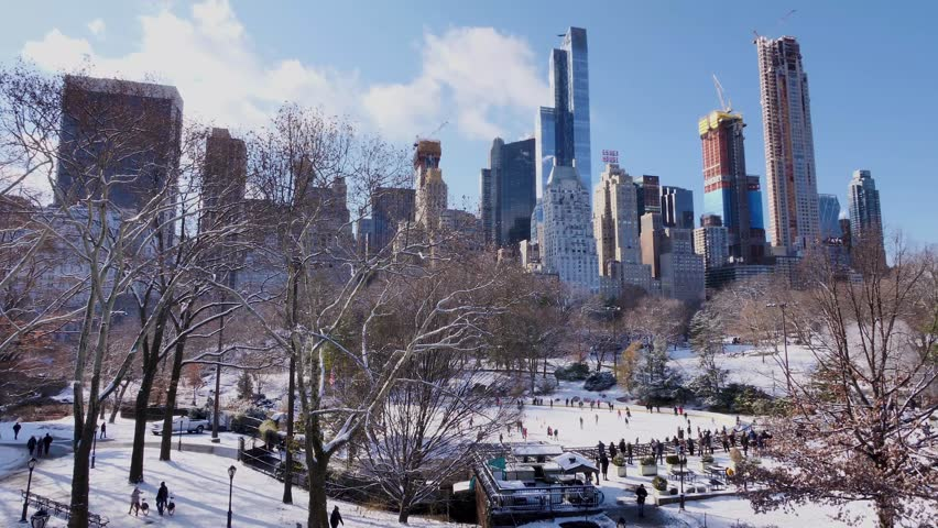 New York -  DECEMBER 14, 2017: During my holiday in New York, I visited Central Park the day after it had snowed.