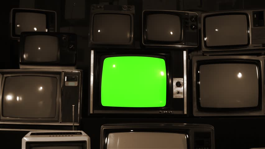 "Old TV Green Screen over 80s TVs. Sepia. Dolly In Fast. You can Replace Green Screen with the Footage or Picture you Want with ""Keying"" effect in After Effects (check out tutorials on YouTube).  