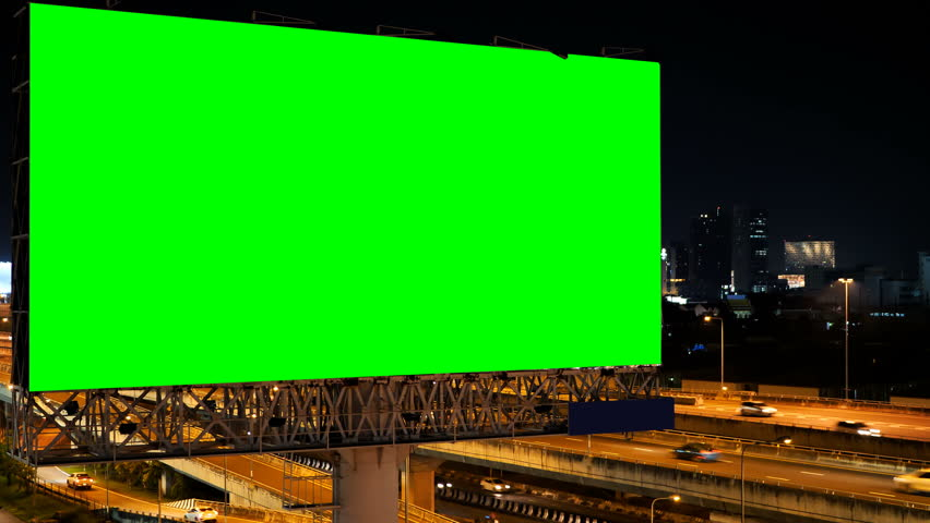 Green screen of advertising billboard on expressway during the twilight with city background in Bangkok, Thailand. | Shutterstock HD Video #1019719303