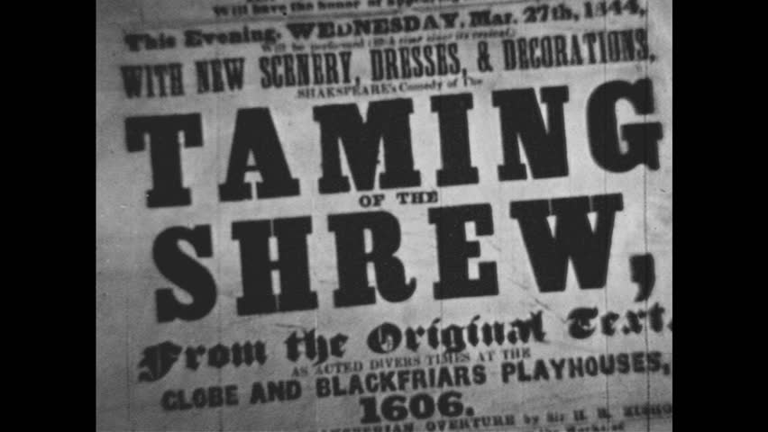 """1950s: Print advertisement for """"THE TAMING OF THE SHREW.""""   Shutterstock HD Video #1019728327"""