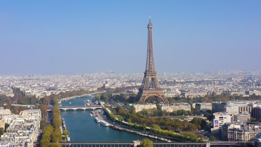 Aerial view of Paris, the Seine river and  Eiffel tower | Shutterstock HD Video #1019745064