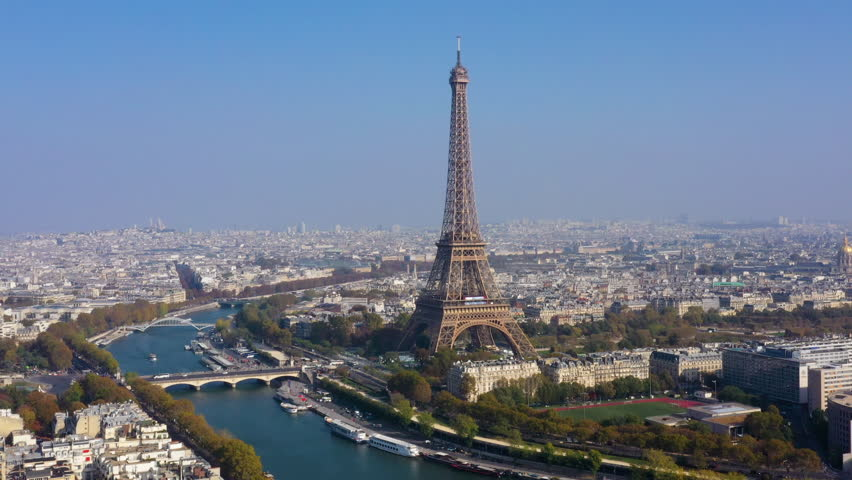 Aerial view of Paris, the Seine river and  Eiffel tower | Shutterstock HD Video #1019745070