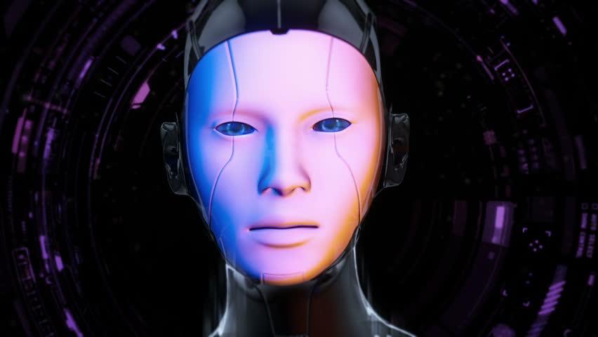 Cyborg Girl With Blue Eyes - Futuristic Style - Digital Artwork