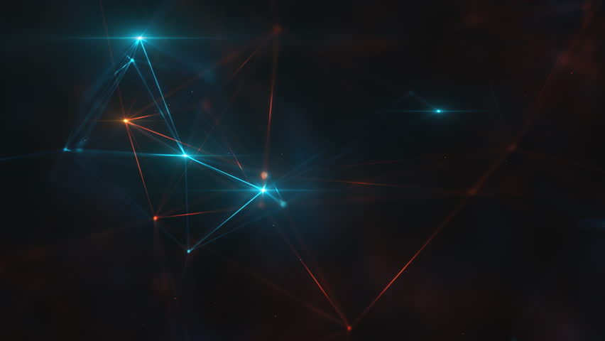 Abstract plexus structure of many glowing lines and particles. Connection concept. Creative technological background with digital composition and optical flares. Looped sequence. | Shutterstock HD Video #1019757829
