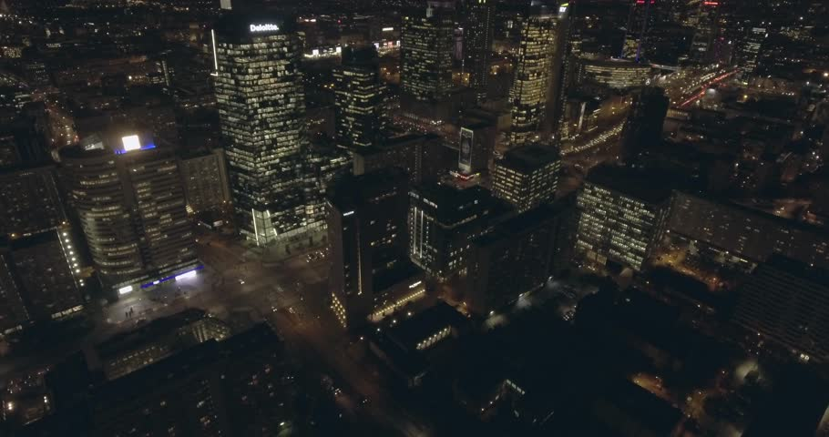Aerial view of large city at night. Flying over skyscrapers in Warsaw Poland. 19. November. 2018.  | Shutterstock HD Video #1019771293