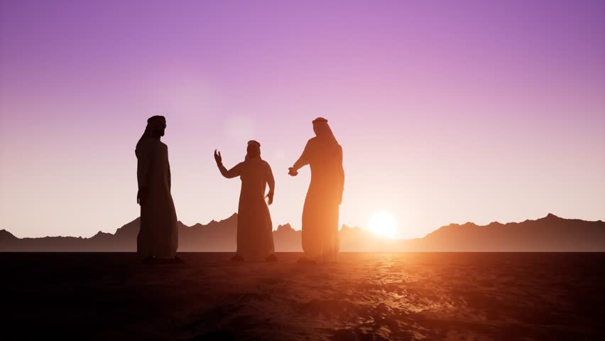 The silhouettes of three Arabs in dishdasha are talking to each other. Beautiful dawn sunrise | Shutterstock HD Video #1019773648