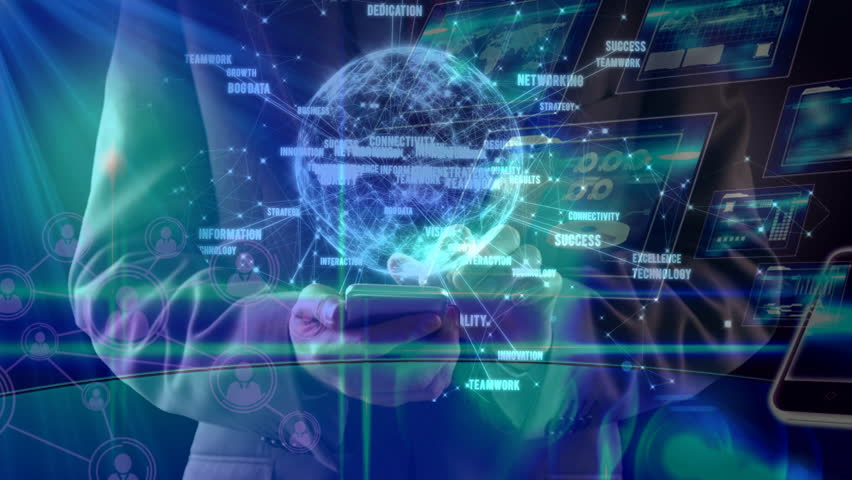 Digital composite of Science Composition Hologram of earth combined with illustration of different devices   Shutterstock HD Video #1019780995