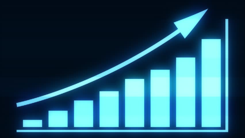 4k Business Growth And Success Arrow Infographics/ Animation of a business infographics with rising arrow and bar stats appearing, symbolizing growth and success, with glitch and noise digital effects #1019784691